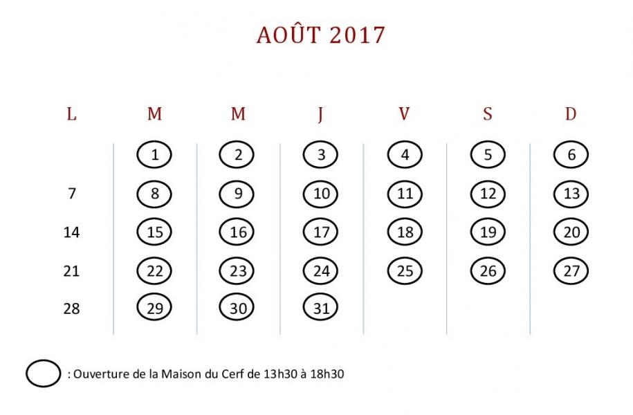 Calendrier aout 1